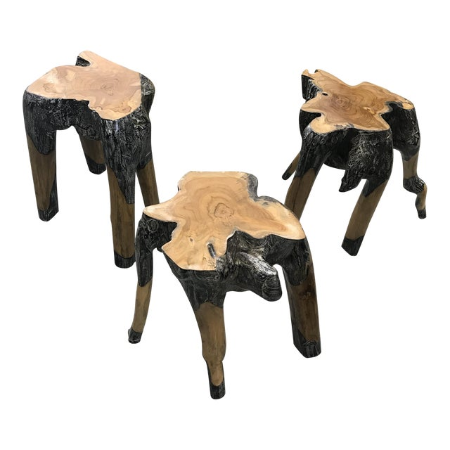 Live Edge Wood Stools - Set of 3 For Sale