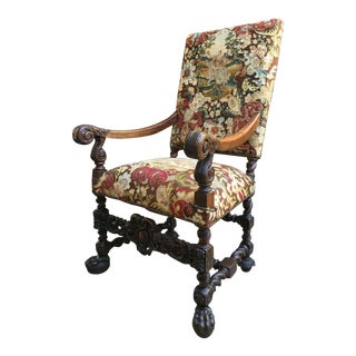19th Century Antique French Oak Throne Arm Chair For Sale