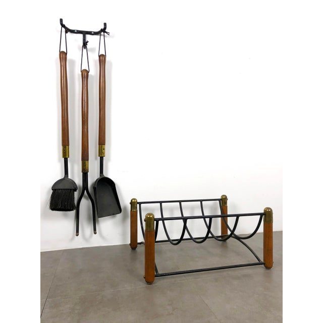 Mid-Century Modern Seymour 1960's Walnut Iron & Brass Fire Tools and Log Rack - Set of 6 For Sale - Image 3 of 11