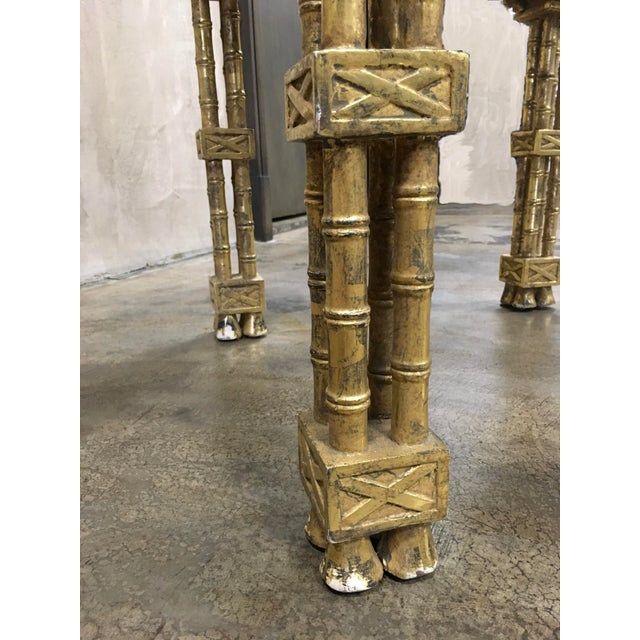 Chinese Chippendale Style Gold Leaf Side Table For Sale - Image 5 of 8