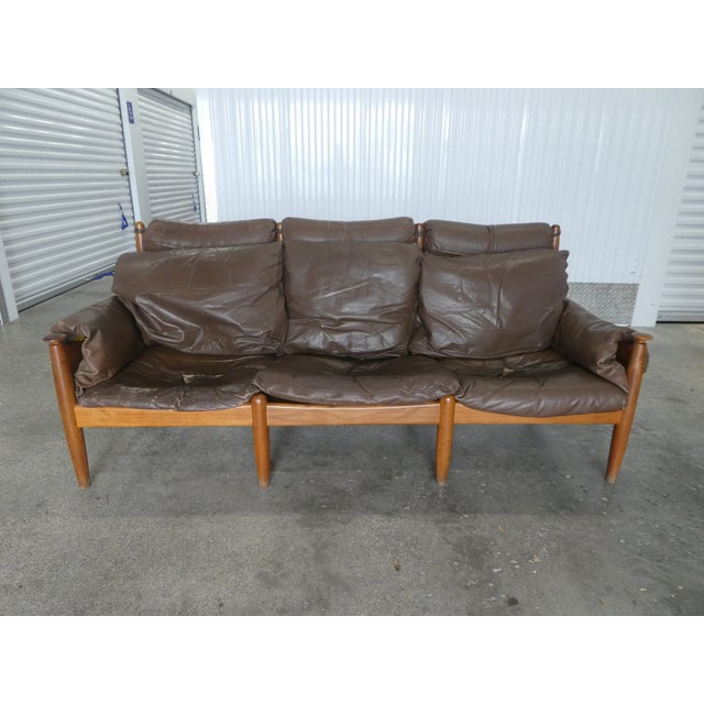 Mid Century Modern Leather and Teak Danish Modern Sofa