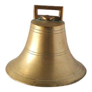 Early 19th Century English Brass Bell With Copper Flange and Iron Clapper For Sale