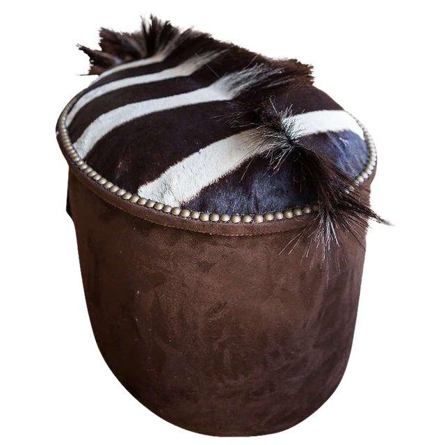 Zebra Upholstered Ottoman For Sale
