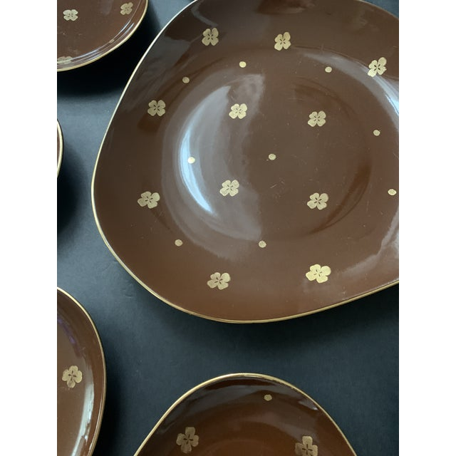 Vintage Mid Century Brow Gilded Cake Dessert Serving Set - 7 Pieces For Sale In Miami - Image 6 of 11