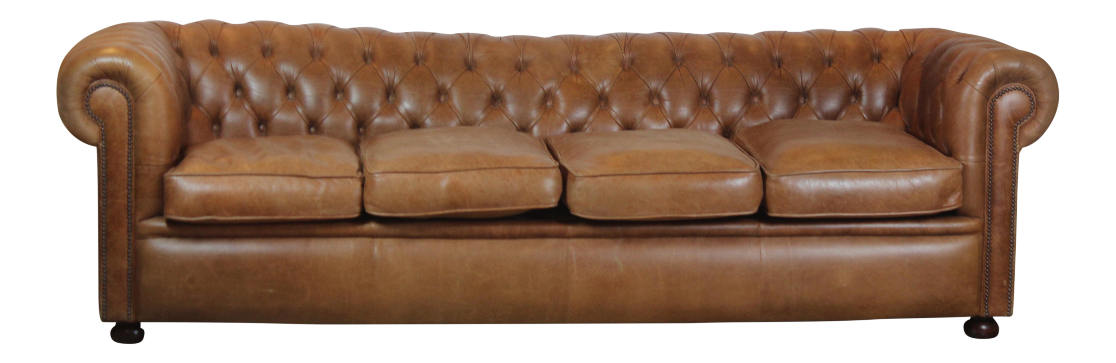 Chesterfield Style Leather Sofa Chairish