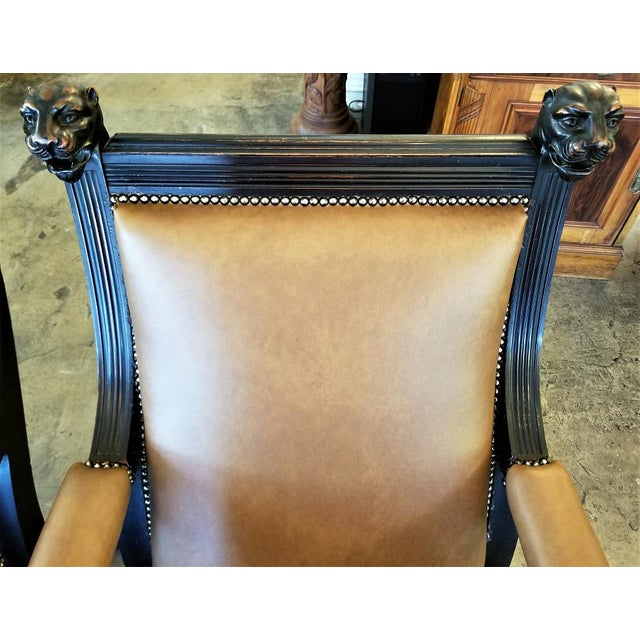 British Dark Walnut Library Chairs With Lions Heads - a Pair For Sale In Dallas - Image 6 of 11