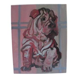 Vintage Impressionistic Shar Pei Acrylic Painting For Sale