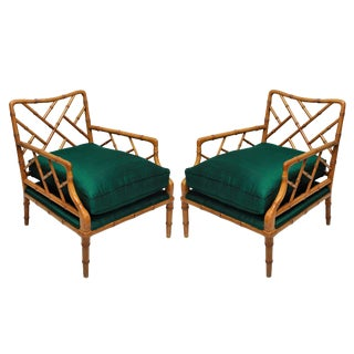 A Pair of Faux Bamboo Cockpen Armchairs For Sale