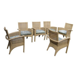 Woodard Trinidad Wicker With Cushion Patio Dining Chairs - Set of 6 For Sale