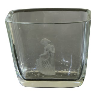 Vintage Orrefors Art Glass Vase With Etched Girl and Flowers