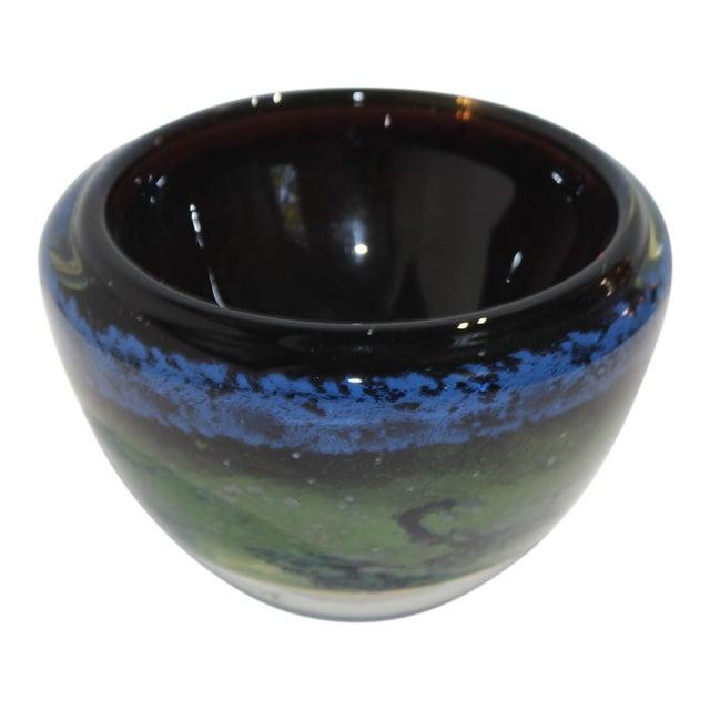Vintage Murano Massimiliano Schiavon Thick Glass Artisan Bowl Signed Gaio 81 For Sale