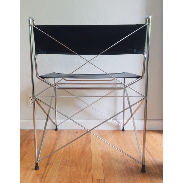 Marcel Breuer Mid Century Modernist Italian Chrome X Base Lounge Chair For Sale - Image 4 of 6