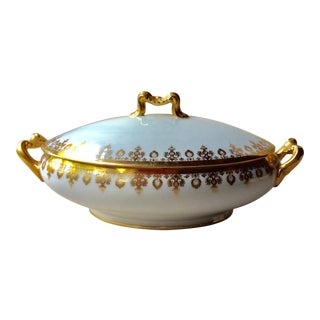 Early 20th Century Bernardaud Porcelain Limoges Gilt Decorated Covered Serving Bowl For Sale
