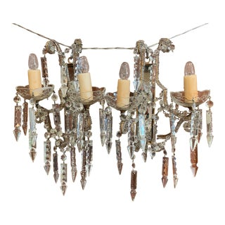 Pair of Early 20th Century Italian Crystal and Cut Glass Two-Light Wall Sconces For Sale