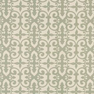 Sample - Schumacher X Veere Grenney Ferne Park Wallpaper in Sage For Sale