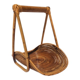 Vintage Italian Pencil/Coiled Bamboo Basket, Magazine Rack, C.1960 For Sale