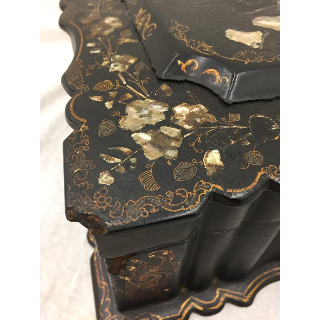 Black Antique Mother of Pearl Chinoiserie Box For Sale - Image 8 of 11
