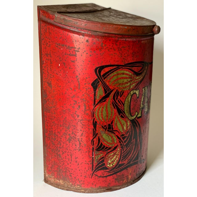 Coffee 1920s Large French Country Store Coffee Tin For Sale - Image 8 of 11