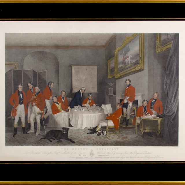 A mezzotint engraving by Charles Lewis after Francis Grant depicting eleven British Gentlemen having their breakfast after...
