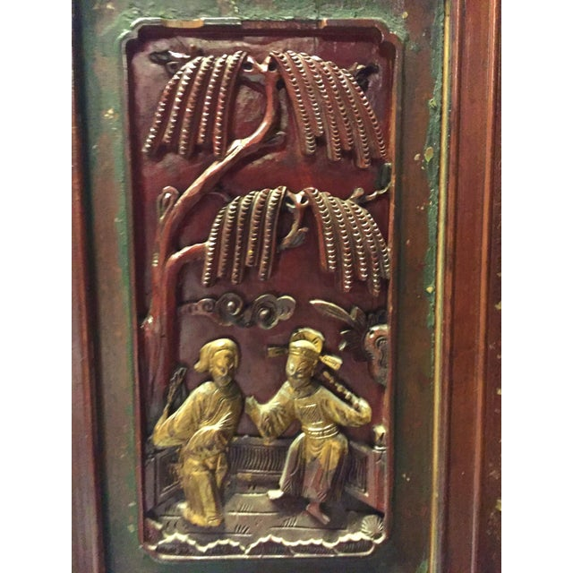 Antique Chinese Carved Gilded With Mother of Pearl Cabinet For Sale In Los Angeles - Image 6 of 12