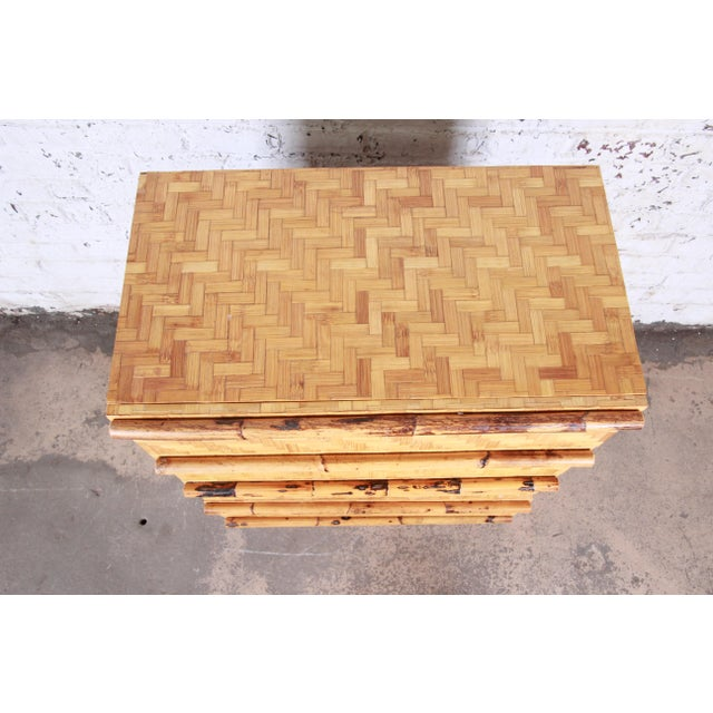 Mid-Century Modern Hollywood Regency Chinoiserie Bamboo Parquetry Highboy Dresser For Sale - Image 9 of 12