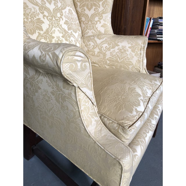 American Federal Style Yellow Jacquard Wingback Chair With Down Cushion For Sale - Image 9 of 13