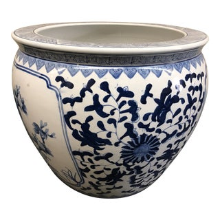 Large Chinese Blue + White Ceramic Pot For Sale