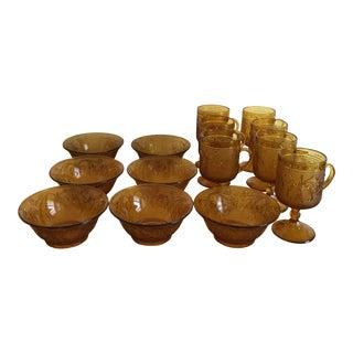 Vintage Sandwich Glass Mugs & Dessert Bowls - Set of 14 For Sale