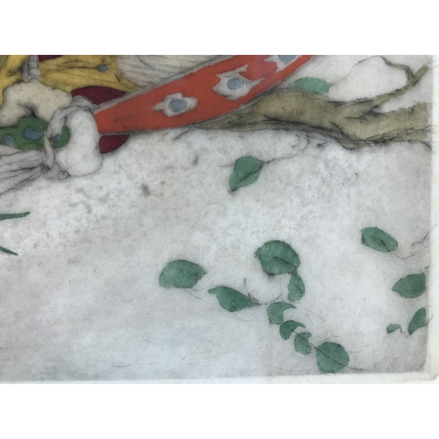 Green Framed Elyse Ashe Lord Women With Harp and Tamborine Musical Painting For Sale - Image 8 of 13