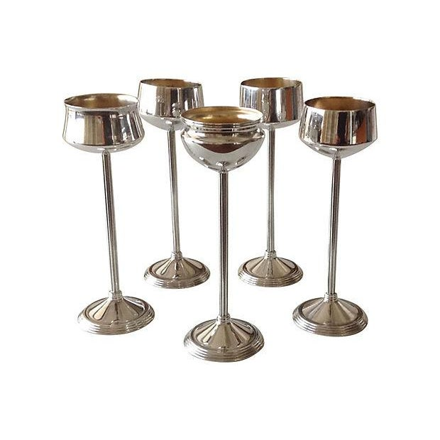 Set of 5 silver plate, platform stem-footed, assorted votive candle holders. Excellent condition, perfect for an array...