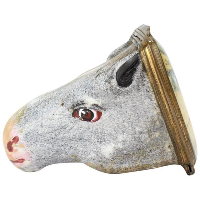 Antique English Figural Horse Head Battersea Staffordshire Enamel Bonbonniere For Sale - Image 11 of 11