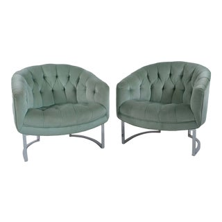 1970s Vintage Chrome Tufted Barrel Chairs- A Pair For Sale