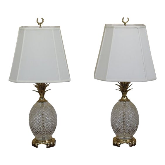 Waterford Crystal Brass Pineapple Table Lamps A Pair Chairish