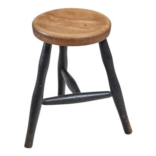 Tribase Stool with Thick Wooden Seat For Sale