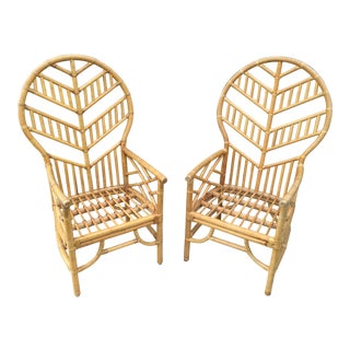 1970s Vintage Rattan Chevron Balloon Back Chinese Chippendale Arm Chairs - a Pair For Sale