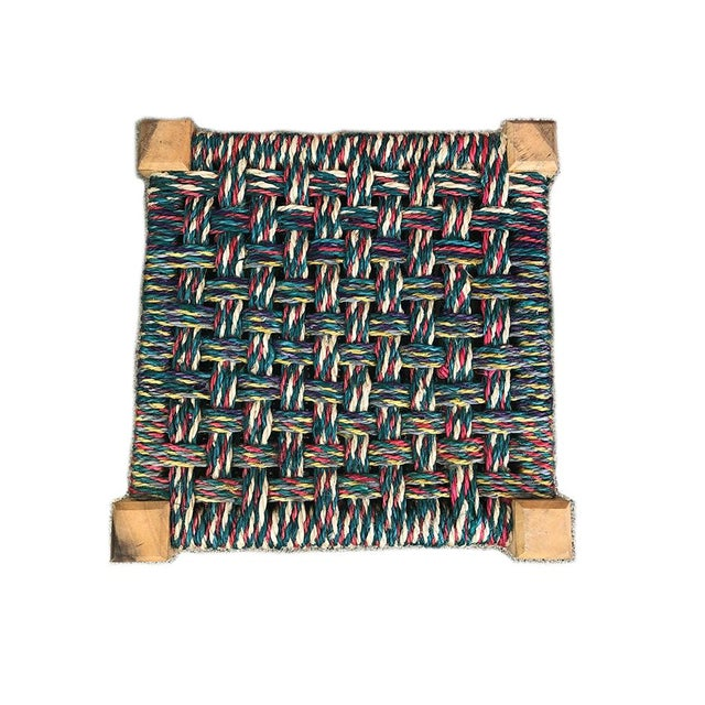 Boho Chic Mid Century Modern Colorful Woven Stool For Sale - Image 3 of 4