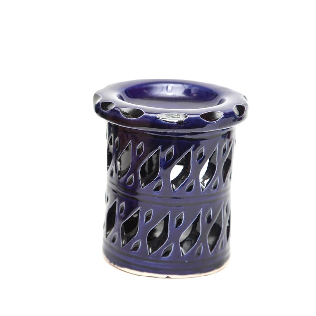Atlas Ceramic Candle Holder - Navy Blue - Image 1 of 3