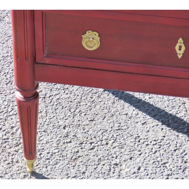 Jansen Style 3 Drawer Marbletop Nightstands - A Pair - Image 2 of 4