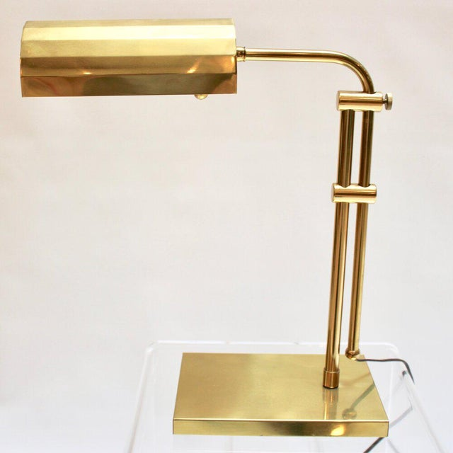 Late 20th Century Vintage Brass Adjustable Desk Lamp For Sale - Image 5 of 12