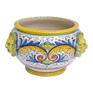 Vintage Italian Hand-Painted Face Cachepot