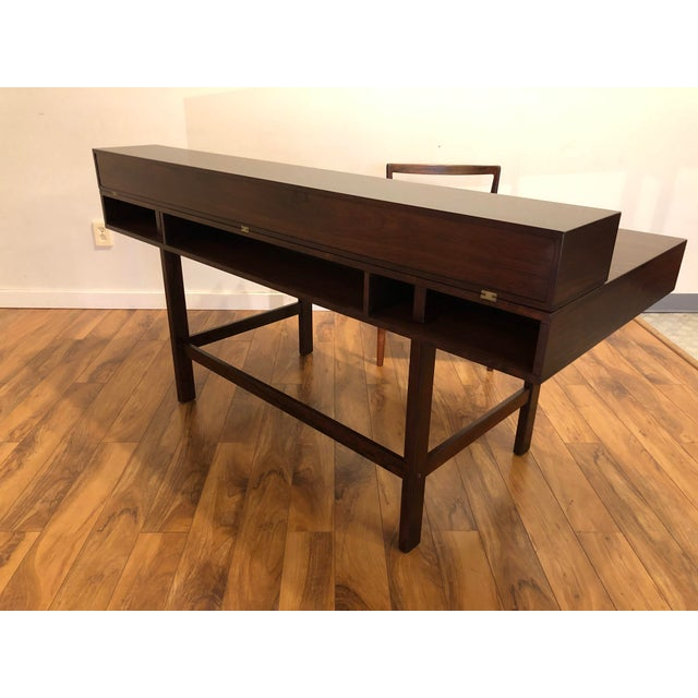 Lovig Design Peter Lovig Nielsen Flip Top Rosewood Desk For Sale - Image 4 of 13