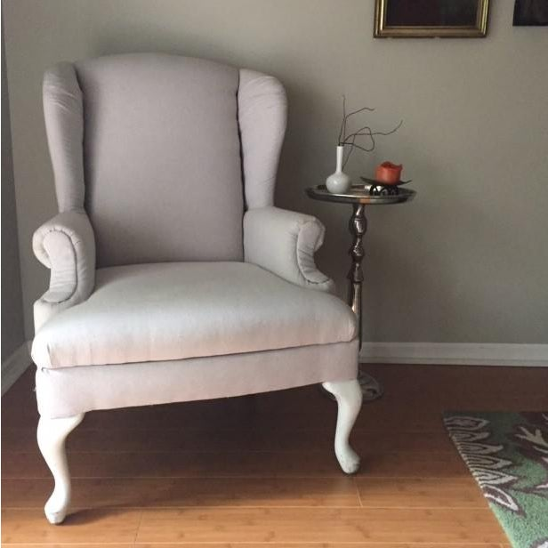 Vintage Neutral Linen Wingback Chair - Image 3 of 11