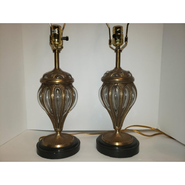 Murano & Brass Bubble Cage Art Glass Italian Table Lamps - a Pair For Sale - Image 12 of 13
