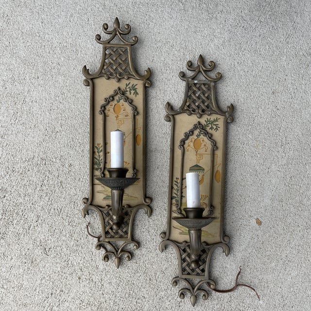 Hand Painted Brass Chinoiserie Lightes Scones - a Pair For Sale - Image 13 of 13