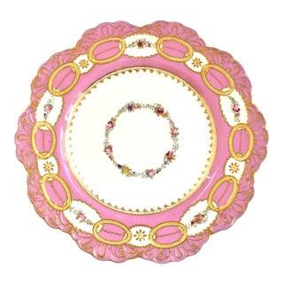 Antique Paris Porcelain Pink & Gold Plate For Sale