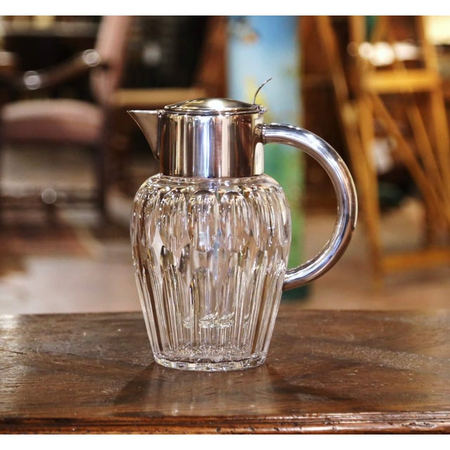Midcentury French Cut-Glass and Silvered Brass Pitcher With Ice Holder Insert For Sale - Image 10 of 10