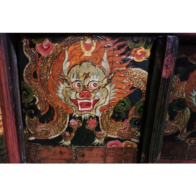 Asian Tibetan Altar Chest With Lion Motif For Sale - Image 3 of 7