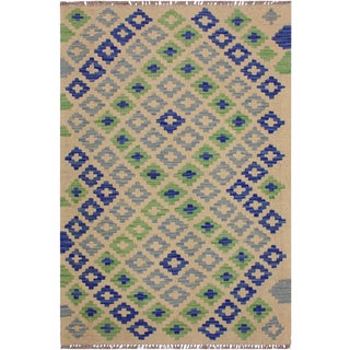 Kilim Alonso Hand-Woven Wool Rug -2'7 X 4'1 For Sale