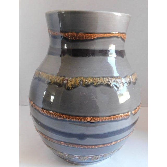 Abstract Fabulous Grey Striped Vintage Vase For Sale - Image 3 of 10