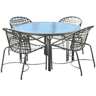 Mid-Century Modern Brown Jordan Kantan Patio Dinette Set Table Four Chairs